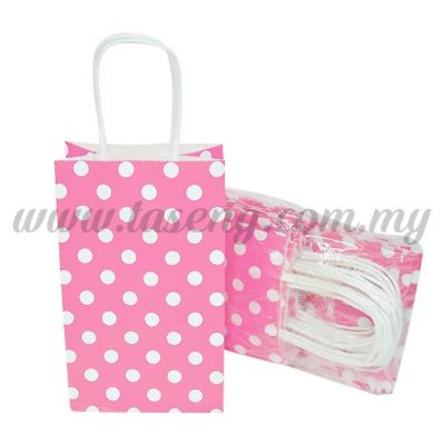 Polka Dot Kraft Handle Paper Bag -Pink  1pack *10pcs (RPB-PD2-P)
