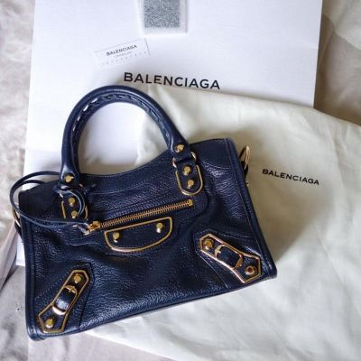 (SOLD) Brand New Balenciaga Mini Classic Metallic Edge City in Blue with GHW (Strap Included)