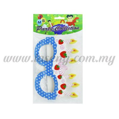 Paper Glasses *Strawberry Blue 10pcs (F-PG-08)