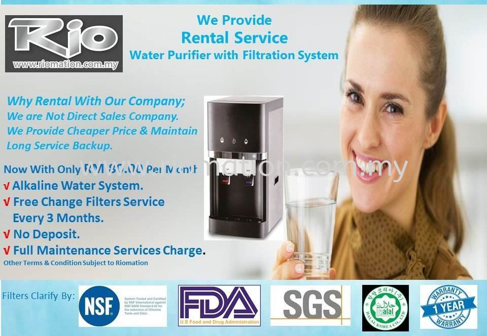 Rio Table Top Water Purifier Monthly Rental Promotion. Alkaline Water Filtration System.
