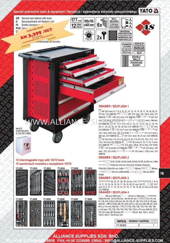 YT-55300 YT-5530 YATO 6 DRAWERS ROLLER CABINET C/W 177PCS TOOLS @ PROMO PRICE RM 3,399 (GST INCLUSIVE) - WHILE STOCKS LAST!