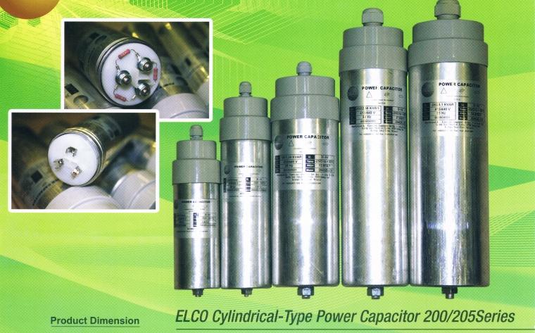 ELCO 200 SERIES 5.0 KVAR CYLINDER TYPE CAPACITOR BANK 440V C/W 1MTR WIRE (WEIGHT-841G) ELCO Capacitor Bank 200 / 205 Capacitor