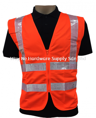 Safety Vest Orange + Reflector with Zip