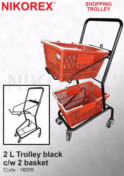 16099-2 L Trolley black c/w 2 basket