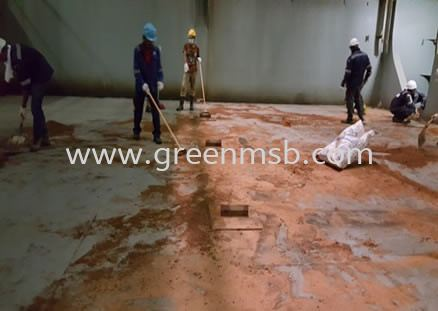Applying Sawdust to Absorb All Oily Residues Our Services Marine Cleaning Service