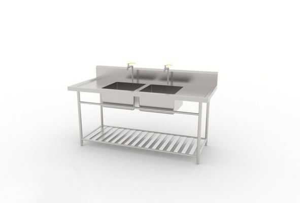 Double Bowl Sink With Slatted Base