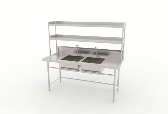 Double Bowl Sink Table With Overhead Shelf