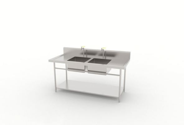 Double Bowl Sink Table With Solid Base