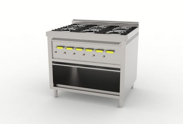 Six Open Burner Counter