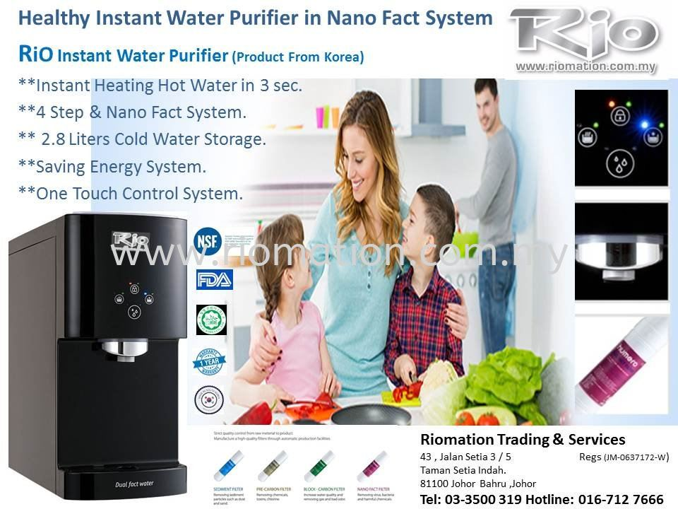 RiO Instant Water Purifier Product From KOREA Promotion