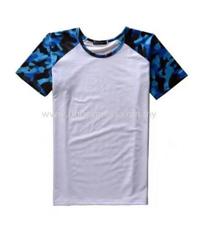 Camou Roundneck T-Shirt Blue-White