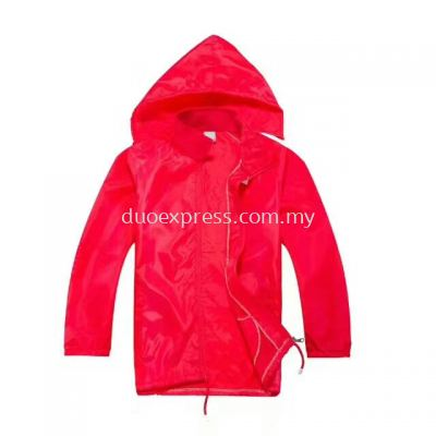 Lightweight Hooded Windbreaker Jacket Red