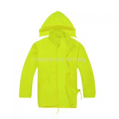 Lightweight Hooded Windbreaker Jacket Neon Green