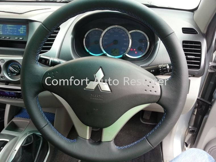 Mitsubishi Triton (Blue Stitching) Steering Wheel Leather Upholstery Steering Wheel Leather