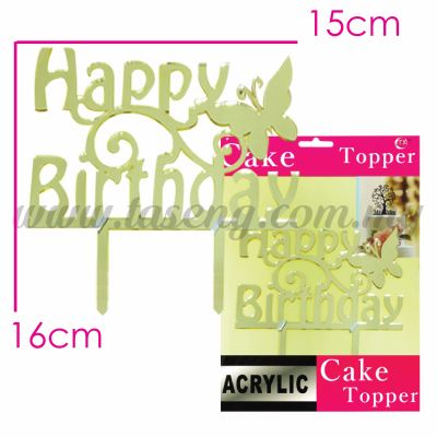 Cake Topper (Acrylic) Happy Birthday Butterfly (CT-HB-A5G)