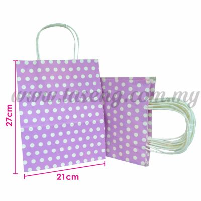Paper Bag Polka Dot Lavender *10pcs (PPB-PD3-LV)