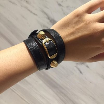 (SOLD) Brand New Balenciaga Triple Tour Bracelet in Black with GHW