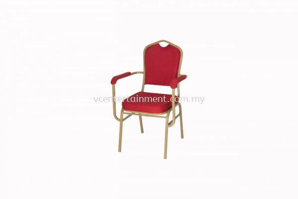 Banquet Chair with Armrest Red Cushion