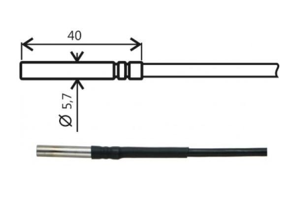 Comet Pt1000TG8/0, temperature probe, cable 2 m