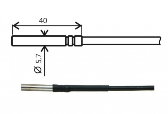 Pt1000TG8/0, temperature probe, cable 5 m