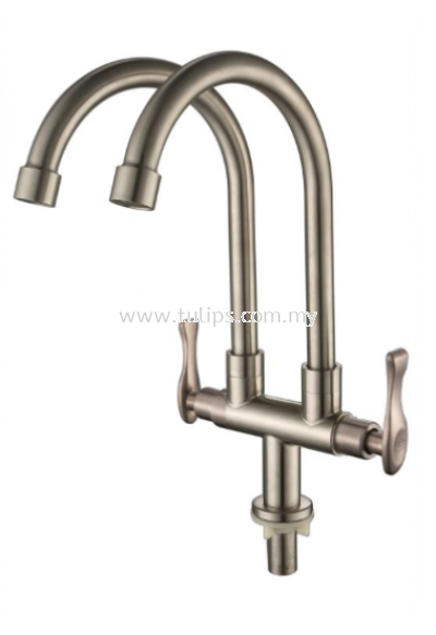 11-869 SUS 304 Pillar Twin Sink Tap