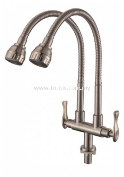 11-879 SUS 304 Flexible Twin Sink Tap
