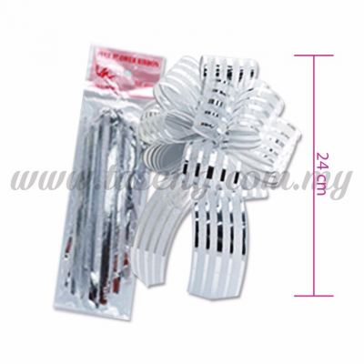 50mm Pull Flower Ribbon - Silver 1 Piece (RB-1PF50-SI)