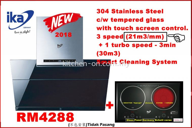 ika hood 304 Stainless Steel  c/w tempered glass  with touch screen control. 3 speed (21m3/mm)  + 1