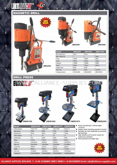 20.13 Magnetic Drill 25mm, 32mm/ Drill Press 13mm, 16mm, 25mm/ Metal Lathe/ Metal Bandsaw/ Mini Milling and Drilling Machine/ Horizontal Metal Bandsaw