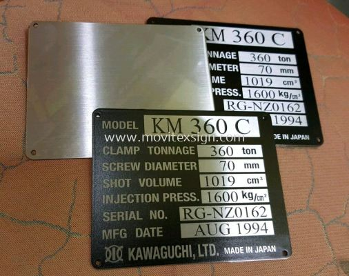 mechine tag for your resale machine use to indicate the model n date of manufature n serial No. We able to Uv print or laser making on stainless steel plate ir chemical Etaching on aluminum plate for all kind of heavy equipment mechine used. (click for more detail)