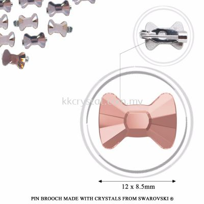 Pin Brooch Made With Crystals from Swarovski®, 2858 Bow Tie 12x8.5mm, Vintage Rose