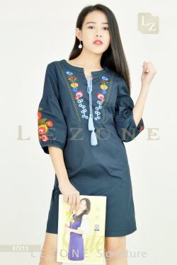 87213 EMBROIDERED PUFF SLEEVE DRESS【SCM VIP 10%】