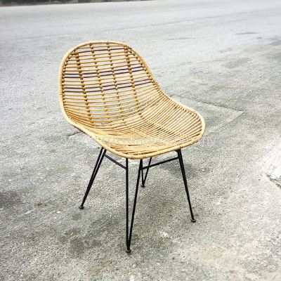 RATTAN + METAL DINING CHAIR HANDSOME