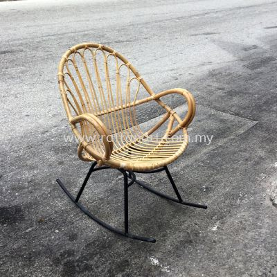 RATTAN + METAL ROCKING CHAIR FLOWER