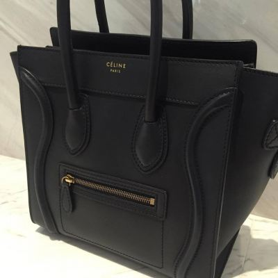 (SOLD) Celine Micro Luggage Tote in Navy Blue