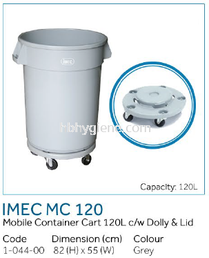 IMEC MC 120 - Mobile Container Cart 120L c/w Dolly & Lid