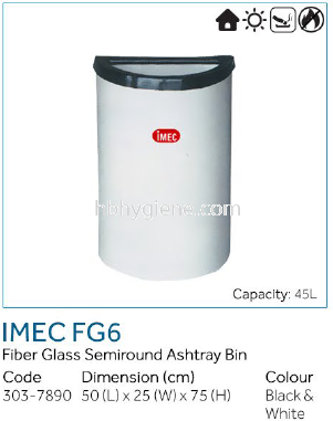 IMEC FG6 - Fiber Glass Semiround Ashtray Bin