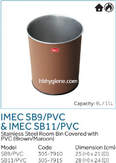 IMEC SB9/PVC & IMEC SB11/PVC - S/Steel Room Bin Covered with PVC