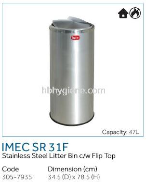 IMEC SR 31 F - S/Steel Litter Bin c/w Filip Top
