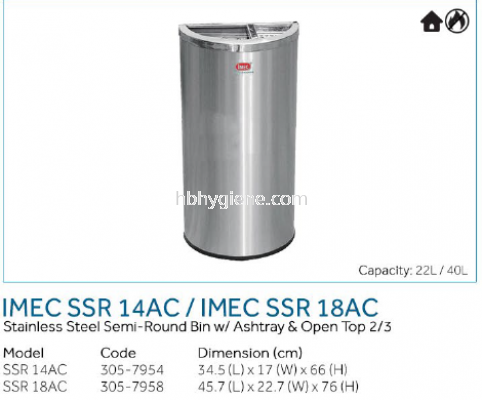 IMEC SSR 14AC / IMEC SSR 18AC - S/Steel Semi-Round Bin w/ Ashtray & Open Top 2/3