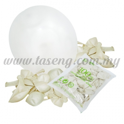12 inch Metallic Round balloons - White (B-MR12-800)
