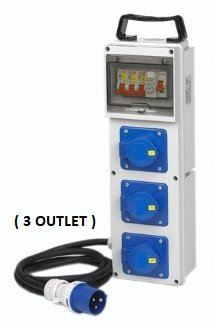 Avaria 3 Outlet Industrial Angle Socket Distrinution Box (Wall Mounting Type)