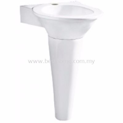 WALL HUNG WASH BASIN C/W FULL PEDESTAL TOTEM / LC-SYW-WHB-07122-WW