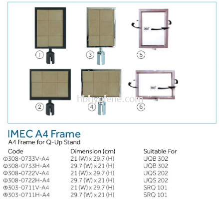 IMEC A4 Frame - A4 Frama for Q-Up Stand