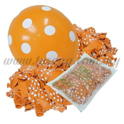 12inch Polka Dot All Round Printed Balloons - Orange (B-12PD-005P)
