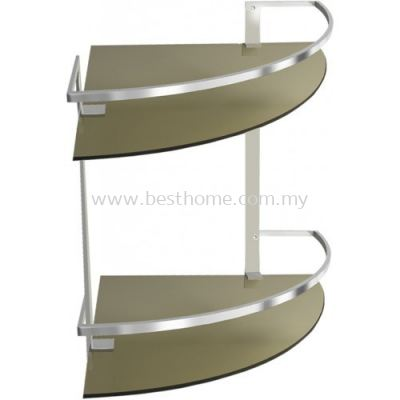CORNER DOUBLE GLASS SHELF GSD418 / TR-BA-GS-01049-PL
