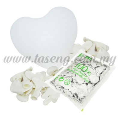 12 inch Heart Shape Balloon -White 100pcs (B-12HS-004P)