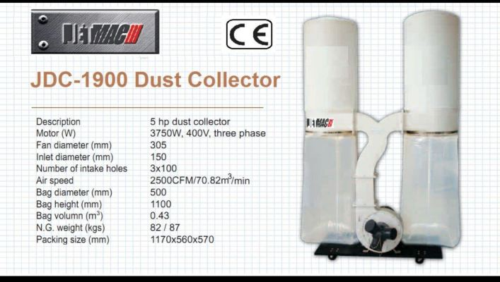 Jetmac JDC-1900 5.0HP Dust Collector Machine ID30876