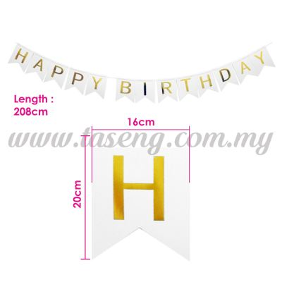 Banner Happy Birthday * White (P-BN-80194)