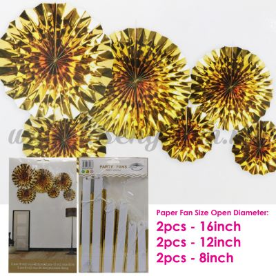 Paper Fan * Shining Gold - 6pcs (PD-PF-80187)
